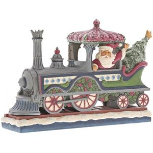 Heartwood Creek Delivering a Merry Christmas (Santa in Train) Figurine