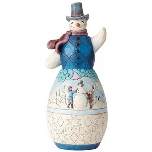 Heartwood Creek Snowman w/winter Scene Statue