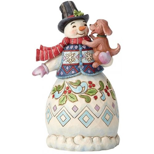 Heartwood Creek Snowman Figurine Warm Wishes Puppy Dog Kisses