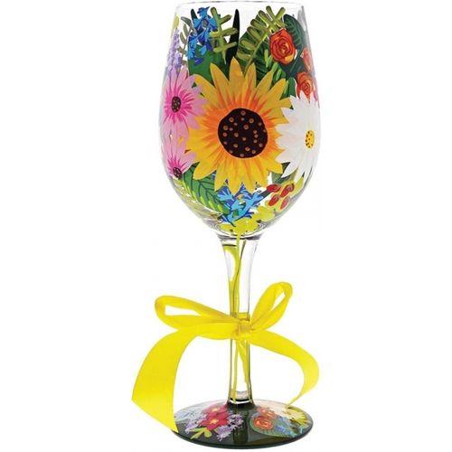 Wild Flowers Wine Glass