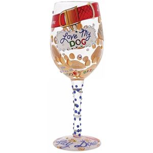 Lolita Hand Painted Wine Glass - Love My Dog