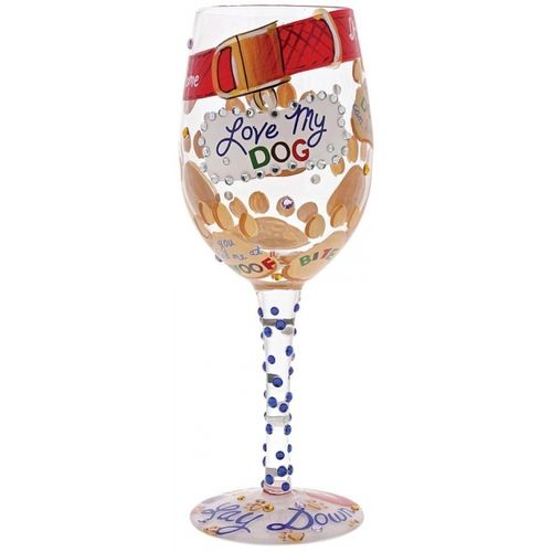 Love My Dog Wine Glass