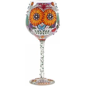 Lolita Hand Painted Wine Glass - Superbling Sugar Skulls