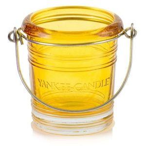 Yankee Candle Votive Holder: Yellow Glass Bucket