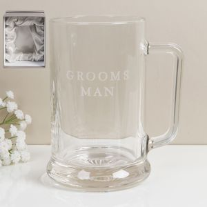 Amore Wedding Party Glass Tankard - Grooms Man