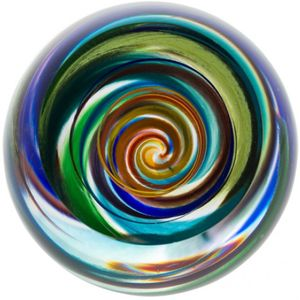 Caithness Glass Paperweight: Retro Rainbow Vortex