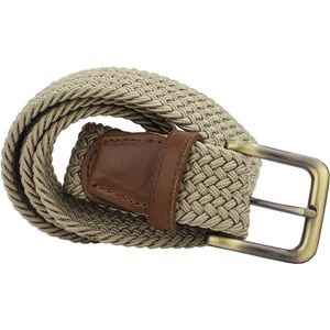 Belt Plaited Webbing & Leather Ends - Biscuit (XXL)