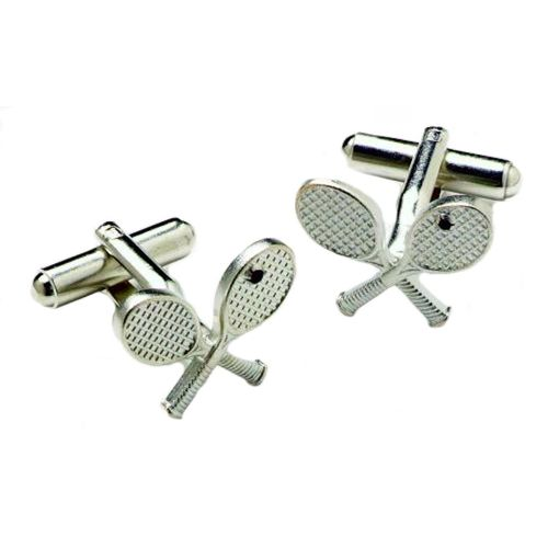 Crossed Tennis Racquet Cufflinks in a silver finish