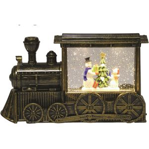 LED Train Water Spinner: Glitter Snowman Scene