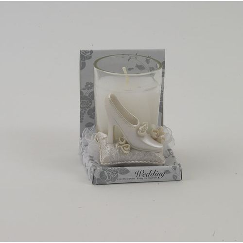 Wedding Candle Favours Brides Shoe Design Pack of 12