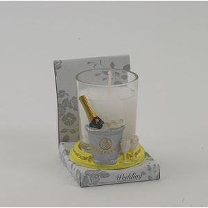 Wedding Candle in holder, champagne in bucket x12