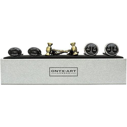 Onyx Art of London Judge Cufflinks 3 Pair Gift Set CKS012