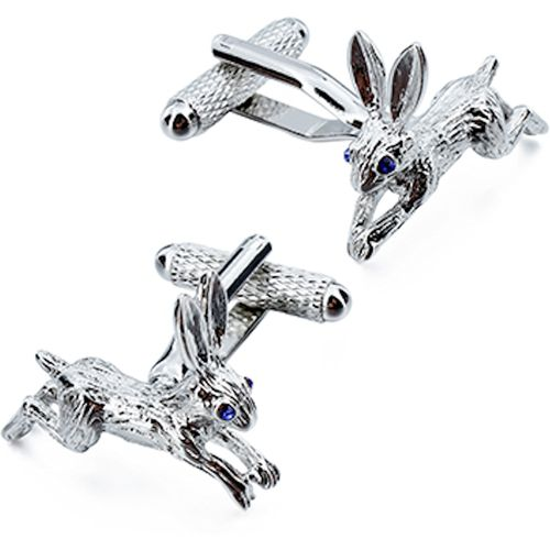 Onyx Art of London Running Hare with Crystal Eyes Cufflinks