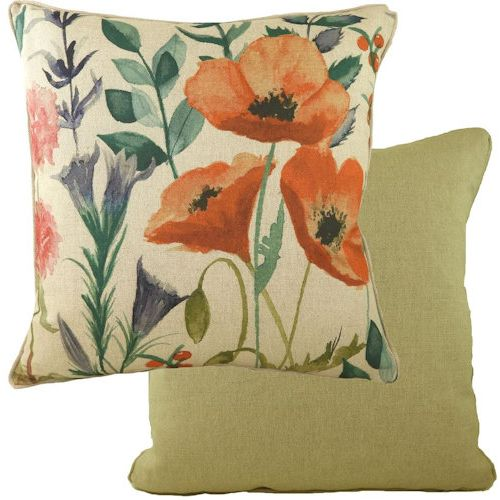 Evans Lichfield Botanics Collection Piped Filled Cushion: Poppies 43cm