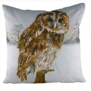 Evans Lichfield Christmas Collection Cushion Cover: Owl Snow Scene