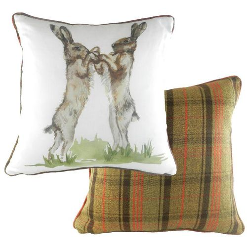 Evans Lichfield Country Collection Hunter Piped Cushion: Boxing Hares 43cm x 43cm