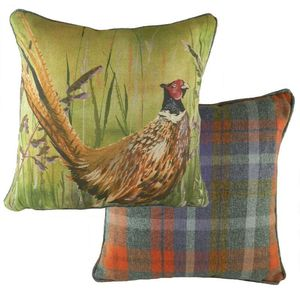 Country Manor Pheasant Bracken Piped Cushion Cover