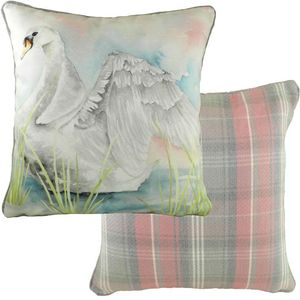 Piped Country Manor Swan Cushion Cover