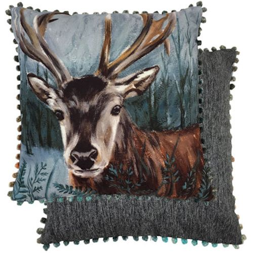 Evans Lichfield Dartmoor Collection Bobble Trim Cushion: Stag 43cm x 43cm
