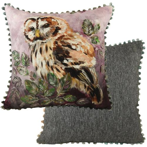 Evans Lichfield Dartmoor Collection Bobble Trim Cushion: Owl 43cm x 43cm