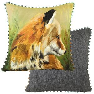 "Evans Lichfield Bobble Trim Dartmoor Fox Cushion 17"""