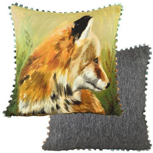 Evans Lichfield Dartmoor Collection Bobble Trim Cushion: Fox 43cm x 43cm