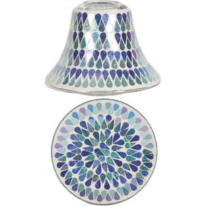 Aroma Jar Candle Shade & Plate Set: Blue Shimmer