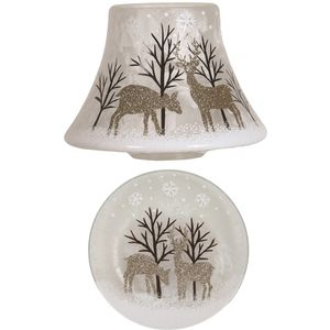 Aroma Jar Candle Shade & Plate Set: Gold Reindeers