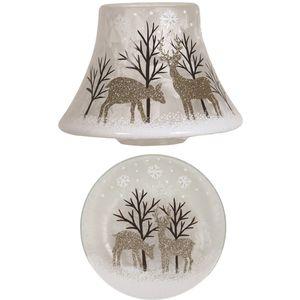 Aromatize Jar Candle Shade & Plate Set Gold Reindeer