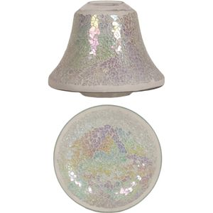 Aroma Jar Candle Shade & Plate Set: Pearl Crackle