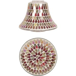 Aromatize Jar Candle Shade & Plate Set Red Shimmer