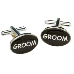 Groom Wedding Cufflinks - Black & Silver
