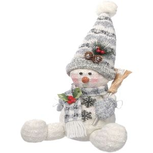Christmas Decoration - Plush Sitting Snowman with Sweeping Brush (Grey)
