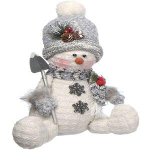 Christmas Decoration - Plush Sitting Snowman with Shovel (Grey)