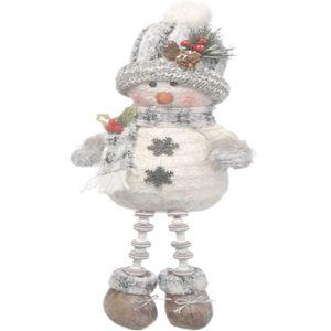 Christmas Decoration - Plush Sitting Snowman with Dangly Legs 30cm (Grey)