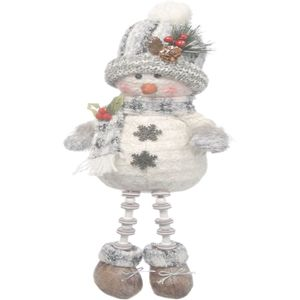 Grey Dangly Leg Plush Snowman