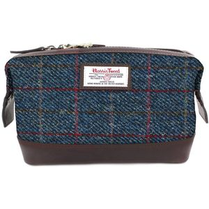Harris Tweed Travel Wash Bag Leather Trim: Allasdale