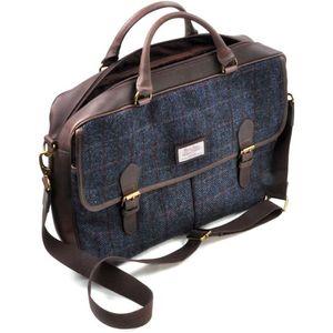 Harris Tweed Briefcase Satchel Leather Trim: Allasdale