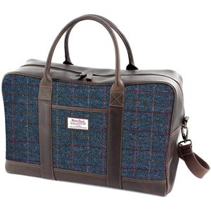 Harris Tweed Travel Holdall Leather Trim: Allasdale