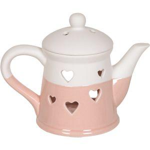 Aroma Wax Melt Burner: Heart Teapot (Pink)