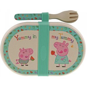 Peppa Pig Organic Bamboo Snack Box & Cutlery Set