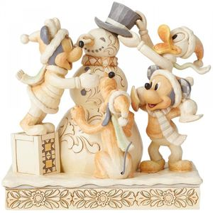 Disney Traditions White Woodland Figurine - Frosty Friendship (Mickey Mouse)