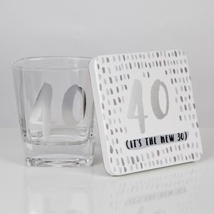 Luxe Birthday Whiskey Glass & Coaster Set - 40