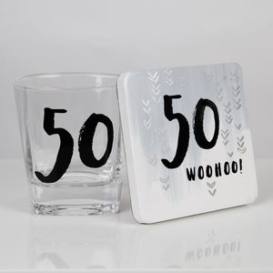 Luxe Birthday Whiskey Glass & Coaster Set - 50