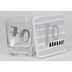 Hotchpotch Luxe Birthday Whiskey Glass & Coaster Set - 70