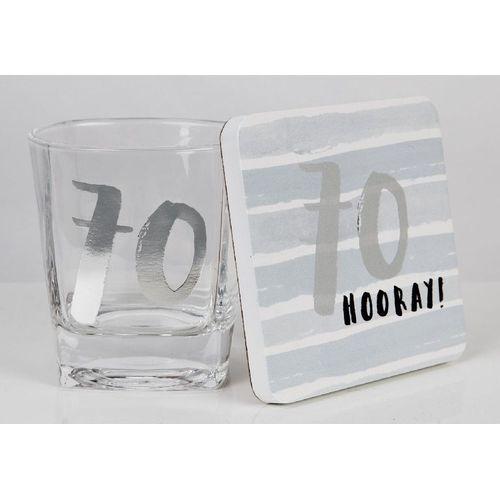 Luxe Birthday Whiskey Glass & Coaster Set - 70