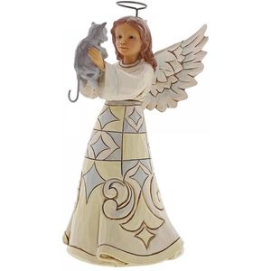 Heartwood Creek White Woodland Figurine Angel with Cat