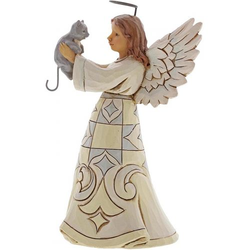 Heartwood Creek White Woodland Faithful Friend Angel with Cat Figurine 4060961 by Jim Shore