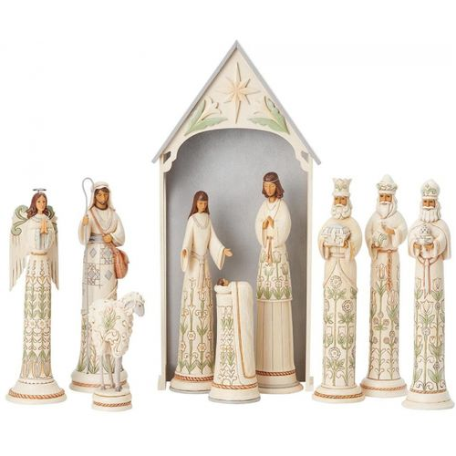 Heartwood Creek White Woodland A Time For Joy Ten Piece Nativity Set Limited Edition 6004200 by Jim