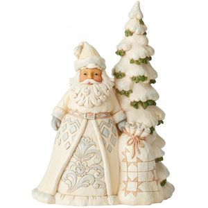 Heartwood Creek White Woodland Santa Figurine - Santa with Christmas Tree